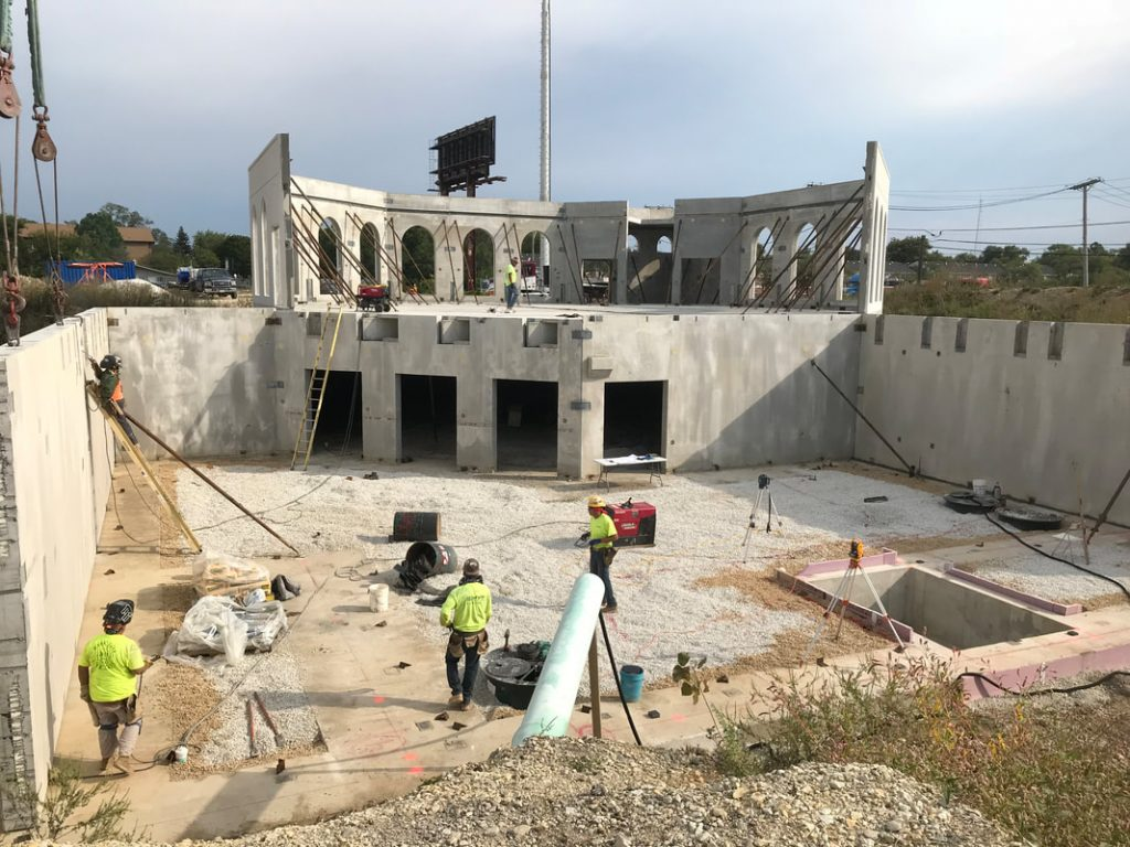 September 18, 2018: Basement panels for the two story area are being installed.